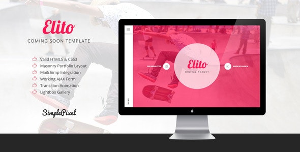 Elito - Coming Soon Template - Under Construction Specialty Pages