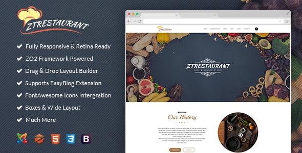 Responsive Joomla Template ZT Restaurant - Food Retail