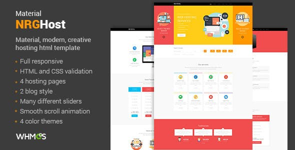 NRGHost Material - Web Hosting Template + WHMCS