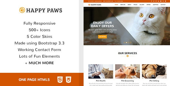 Happy Paws - Pet Responsive One Page HTML - Business Corporate