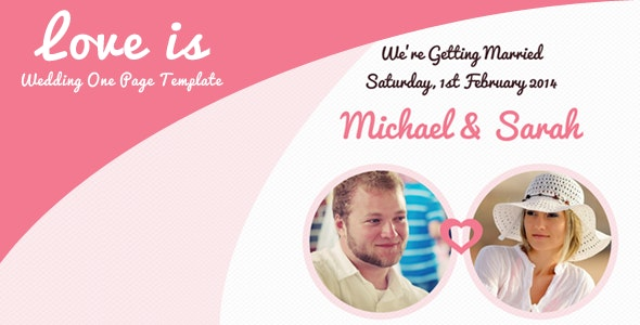 Love is - One Page Responsive Wedding Template - Events Entertainment