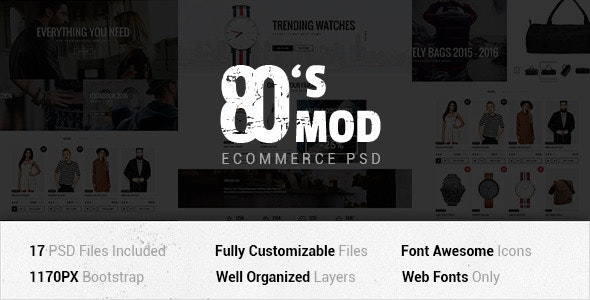 80's MOD - eCommerce PSD Template - Shopping Retail
