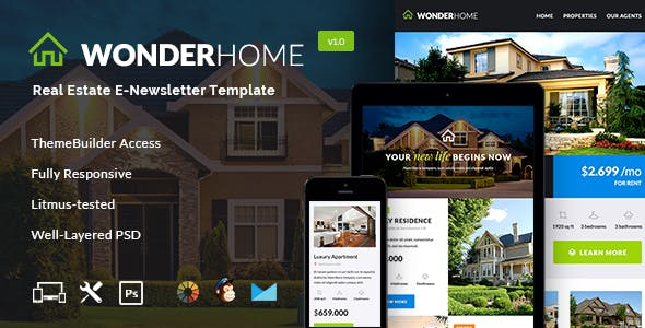 WonderHome - Real Estate Email Template + Builder Access