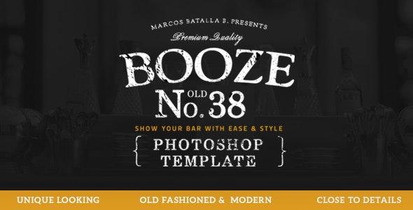 Booze Photoshop Bar Template - Restaurants & Cafes Entertainment
