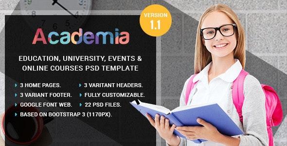 Academia - Education, Course & Event PSD Template - Corporate Photoshop