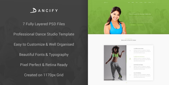 Dancify - Dance Studio PSD Template - Health & Beauty Retail