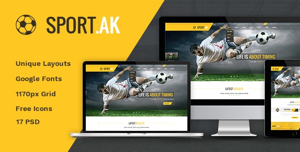 Sport.AK — Soccer Club and Sport PSD Template - Entertainment Photoshop