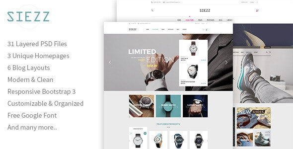 Siezz - Multipurpose E-Commerce PSD Template - Retail Photoshop