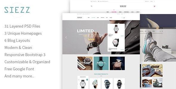 Siezz - Multipurpose E-Commerce PSD Template - Retail PSD Templates