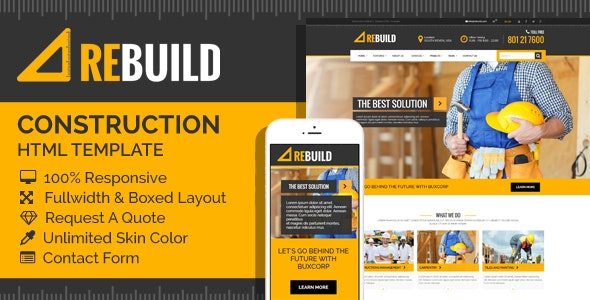 ReBuild - Construction & Renovation HTML Template - Business Corporate