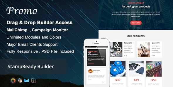 Promo - Responsive Email + Builder Online - Newsletters Email Templates