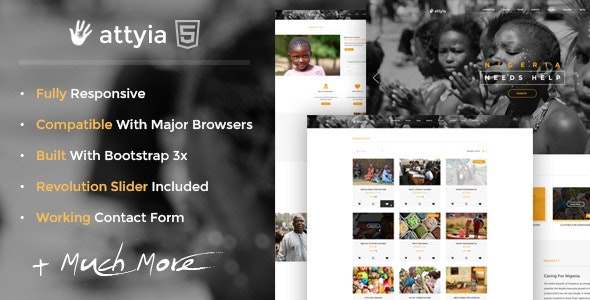 Attyia - Creative NGO and Charity HTML5 Template - Nonprofit Site Templates