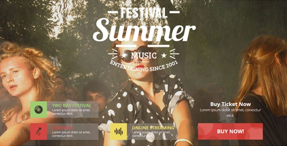 Music Festival / Indie Event / Concert Theme - Landing Muse Templates