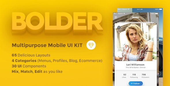 Bolder - Multipurpose Mobile UI KIT for Sketch - Creative Sketch