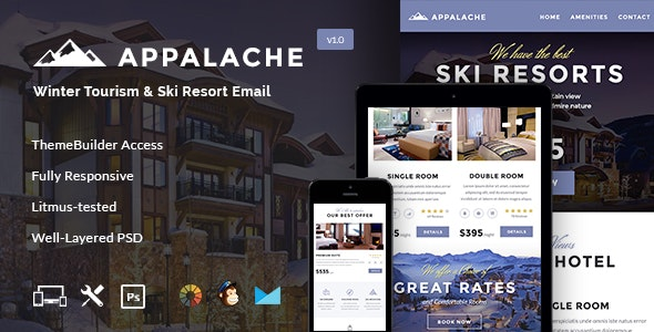 Appalache - Winter Tourism & Ski Resort Email + Builder Access - Email Templates Marketing