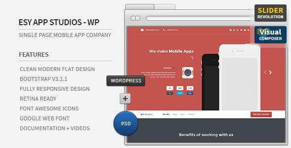 Esy App Responsive WordPress One Page Theme - Technology WordPress