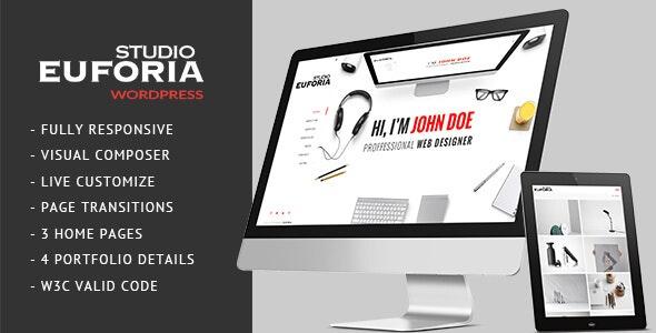 Euforia - Responsive Vcard WordPress Theme - Portfolio Creative