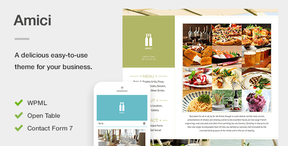 Amici - A Flexible & Responsive Restaurant or Cafe Theme for WordPress - Restaurants & Cafes Entertainment