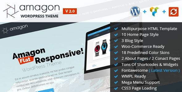 Amagon Bootstrap Flat Multipurpose WordPress Theme - Business Corporate