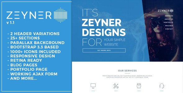Zeyner - Responsive Landing Page Template - Landing Pages Marketing