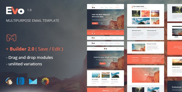 Evo - Responsive Email Template + Online Builder - Newsletters Email Templates