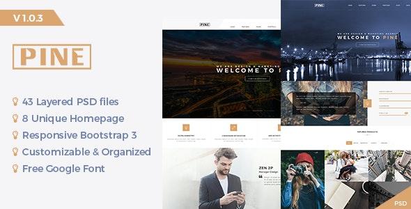 Pine - Creative Onepage PSD Template - Portfolio Creative