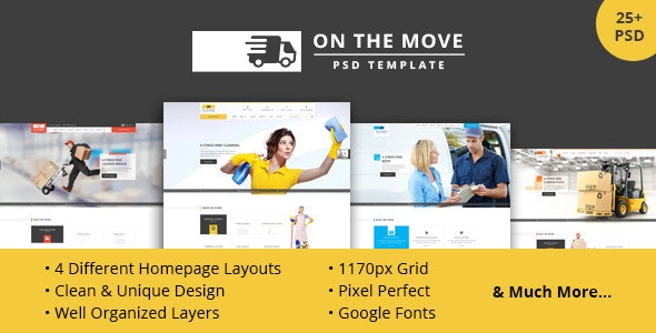 On The Move - PSD for Movers, Cleaners, Storage, etc - Business Corporate