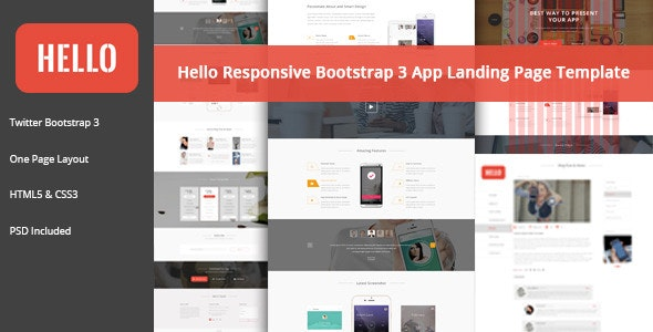 HELLO - Responsive Bootstrap App Landing Page - Apps Technology