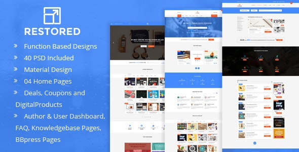 Restored - Marketplace for Easy Digital Downloads - Miscellaneous PSD Templates