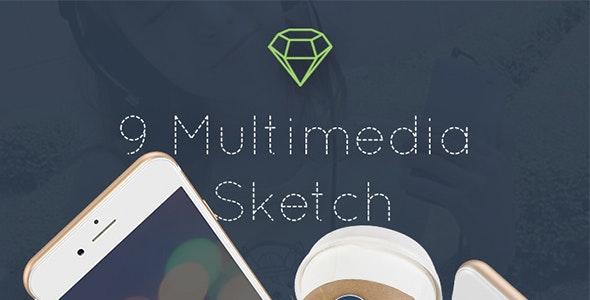 Multimedia App - Sketch Mobile UI Kit - Sketch UI Templates