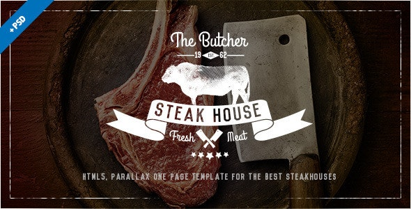 The Butcher - One Page HTML Template for Steak Houses - Food Retail