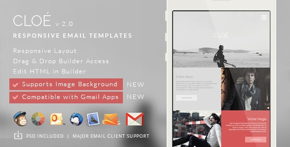 Cloe - Responsive Email Template + Builder Access - Email Templates Marketing