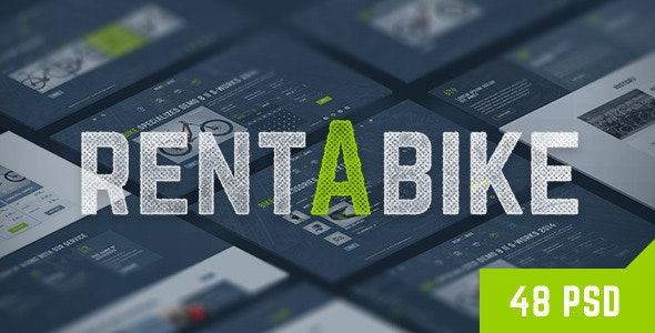 Rent a Bike - Rental & Booking PSD Template - Retail Photoshop