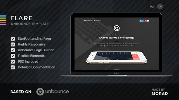 Flare - Unbounce Startup Landing Page - Unbounce Landing Pages Marketing