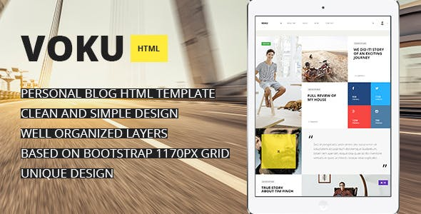 Voku - Minimal Portfolio and Blog HTML Template