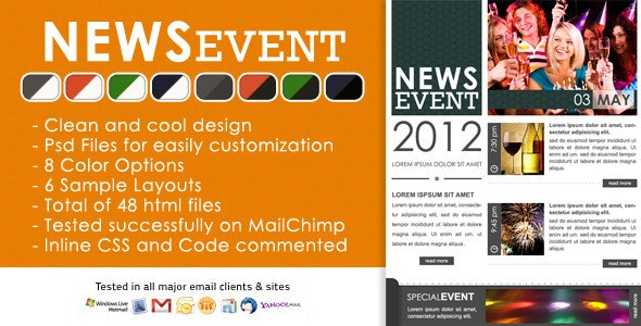 News Event Newsletter -  Html and Psd files - Newsletters Email Templates