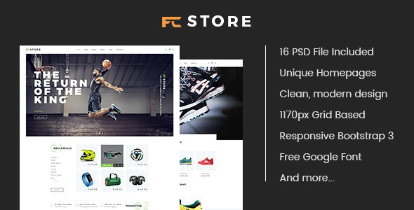 FCStore - Multipurpose eCommerce PSD Template - Retail Photoshop