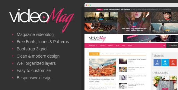 VideoMag - Magazine Videoblog - Miscellaneous PSD Templates