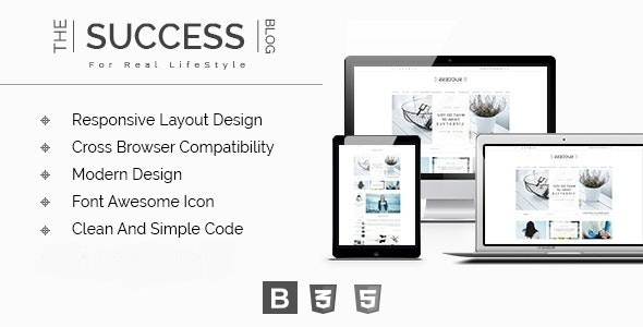The Success - Responsive Modern HTML Blog Template - Personal Site Templates