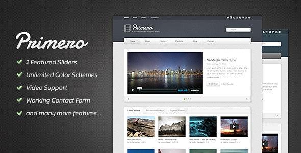 Primero - Video Site Template - Portfolio Creative