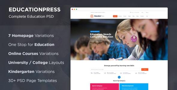 EducationPress - Complete Education PSD - Corporate Photoshop