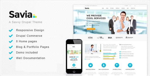 Savia - Responsive Multi-Purpose Drupal 7.6 Theme - Business Corporate