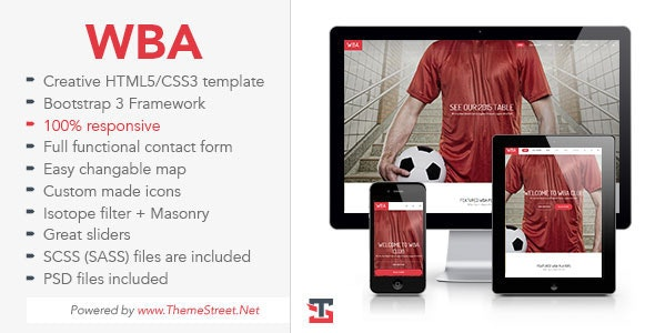 WBA - Sport HTML5 Template - Entertainment Site Templates