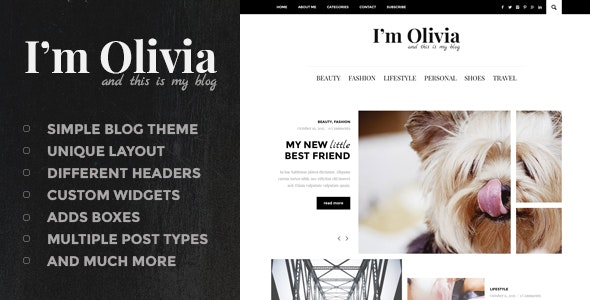 Olivia - Clean & Responsive WordPress Blog Theme - Personal Blog / Magazine