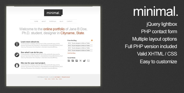 Minimal HTML Portfolio Site Template - Portfolio Creative