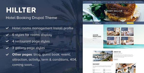 Hillter - Hotel Booking Drupal Theme - Travel Retail