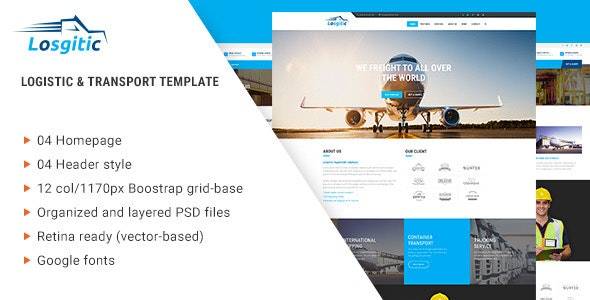 Logistic - Warehouse & Transport PSD template - PSD Templates