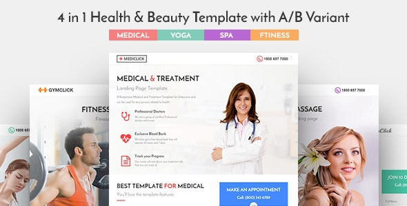 Medical, Spa, Yoga & Fitness Landing Page Template - Health & Beauty Retail