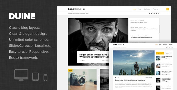 Duine - A Responsive WordPress Blog Theme - Personal Blog / Magazine