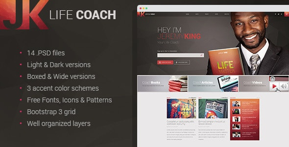 Life Coach - Personal page PSD template - Personal PSD Templates